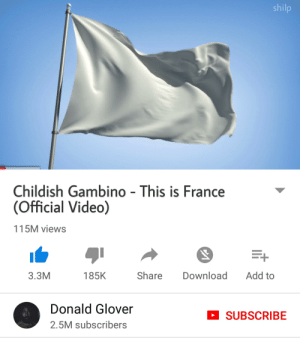 Childish Gambino, Donald Glover, and France: shilp  Childish Gambino- This is France  (Official Video)  115M views  3.3M  185K  Share Download Add to  Donald Glover  2.5M subscribers  SUBSCRIBE Dont catch you slippin up