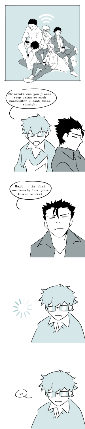 Cant Think: Shimazaki can you please  stop using  so much  bandwidth? I cant think  straight   Wait... is that  seriously how your  brain works?   IZ   ya  IZ