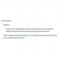 Memes, Work, and Retail: shinyumbreon:  pottersir:  if you think it's degrading to work in retail remember that voldemort  worked at borgin and burkes before he became the dark lord  i think i understand him a bit better now, working in retail would turn anyone  into a sadistic mass-murderer