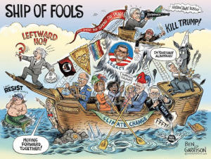 Ben is the definition of this sub. For the love of all gods this is awful.: SHIP OF FOOLS  RUSSIA'AWK! RUSSIA!  SPEND TAX  TAX-  SPEND  EVIDENCE  KILL TRUMP!  TAX SPEMD  MUELLER  LEFTWARD  IM YOUR LUCKY  ALBATROSS!  LEGACY  IMPEACH  TRUMP!  NO  REFUND  FCAN  RESIST  DENE JERRYs  DEMOCRMTS  FFFT!  SLIMATE CHANGE  FAKE  NEWS  MOVING  FORWARD  TOGETHER!  BEN  GARRISON  OGAROGRAPHICS.COM  MSM  TGBTQI Ben is the definition of this sub. For the love of all gods this is awful.