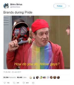 Target, Tumblr, and Twitter: Shiro Sirius  @ShiroSirius  Follow  Brands during Pride  How do you do, fellow gays?  11:26 AM- 29 Jun 2017  8 e @ap  30,354 Retweets 86,449 Likes  0146  30K  86K profeminist:    Source