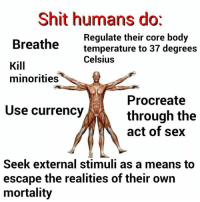 Bodies , Ironic, and Sex: Shit humans dot  Regulate their core body  Breathe  temperature to 37 degrees  Celsius  Kill  minorities  Procreate  Use currency  through the  act of sex  Seek external stimuli as a means to  escape the realities of their own  mortality Post Ironic Memechartcore II: But Then WAS Graph