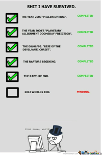"<p>Survival checklist.</p>: SHIT I HAVE SURVIVED.  COMPLETED  THE YEAR 2000 ""MILLENIUM BUG"".  THE YEAR 2000'S ""PLANETARY  ALLIGNMENT DOOMSDA  Y PREICTION"". COMPLETED  THE 06/06/06. ""RISE OF THE  DEVIL/ANTI CHRIST"".  COMPLETED  THE RAPTURE BEGINING.  COMPLETED  THE RAPTURE END.  COMPLETED  2012 WORLDS END.  PENDING.  DA  Your move, world  necenter.com訇盏Genl.m <p>Survival checklist.</p>"