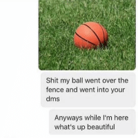 How to slide into the DMs 101 brought to you by @dirtysarcasm: Shit my ball went over the  fence and went into your  dms  Anyways while I'm here  what's up beautiful How to slide into the DMs 101 brought to you by @dirtysarcasm