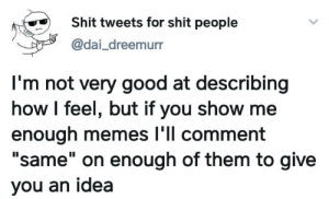 "meirl by Bmchris44 MORE MEMES: Shit tweets for shit people  @dai_dreemurr  I'm not very good at describing  how I feel, but if you show me  enough memes l'll comment  ""same"" on enough of them to give  II  you an idea meirl by Bmchris44 MORE MEMES"