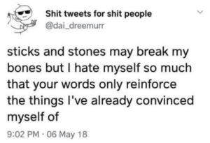 Bones, Shit, and Break: Shit tweets for shit people  @dai_dreemurr  sticks and stones may break my  bones but I hate myself so much  that your words only reinforce  the things I've already convinced  myself of  9:02 PM 06 May 18 Shit tweets for shit people