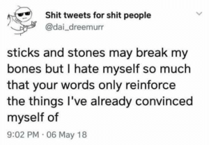 Bones, Shit, and Break: Shit tweets for shit people  @dai_dreemurr  sticks and stones may break my  bones but I hate myself so much  that your words only reinforce  the things l've already convinced  myself of  9:02 PM 06 May 18 2meirl4meirl