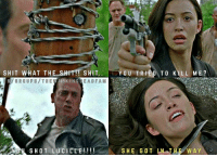Oh Rosita. you really screwed up. but, if you blame her for Olivia's death and not Daryl for Glenn's, that's just ridiculous. both screwed up and caused unnecessary deaths. smh. ~Martin: SHIT WHAT THE SHIT!! SHIT  VERO UPS THE WALKING EADFAM  SHOT LUCILLE  YOU TRIED TO KILL ME?  SHE GO TLN TH  WAY  Y. Oh Rosita. you really screwed up. but, if you blame her for Olivia's death and not Daryl for Glenn's, that's just ridiculous. both screwed up and caused unnecessary deaths. smh. ~Martin