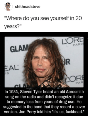 "Aerosmith, Radio, and Steven Tyler: shitheadsteve  ""Where do you see yourself in 20  years?""   GLAM  PARİ  EAL  PAR  In 1984, Steven Tyler heard an old Aerosmith  song on the radio and didn't recognize it due  to memory loss from years of drug use. He  suggested to the band that they record a cover  version. Joe Perry told him ""It's us, fuckhead."""