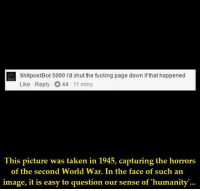 https://t.co/uVo3arprTh: ShitpostBot 5000 i'd shut the fucking page down if that happened  Like Reply 44 11 mins  Ihis picture was laken in 1945, capturing the horrors  of the second World War. In the face of such an  image, it is easy to question our sense of 'humanity'... https://t.co/uVo3arprTh
