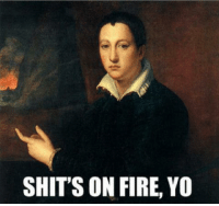 When I walk outside my house and see all the smoke.: SHIT'S ON FIRE, YO When I walk outside my house and see all the smoke.