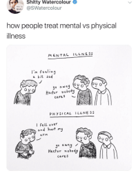 Physical, Sad, and Irl: Shitty Watercolour  Watercolour  how people treat mental vs physical  illness  MENTAL ILLNESS  l'm feelin  a bit sad  go a way Q0 0  Hector no bod  cares  PHY SI CAL I LLNE SS  I fell over  nd hurt my  arm  o a wa  Hector nobody  cares me_irl