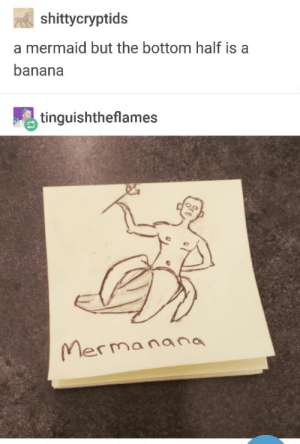 I dig it: shittycryptids  a mermaid but the bottom half is a  banana  tinquishtheflames  Mermanana I dig it