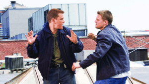Matt Damon, Target, and Tumblr: shittymoviedetails:  In The Departed (2006), Matt Damon and Mark Wahlberg play two different characters— a subtle nod to them being two different actors, despite my wife being unable to tell them apart on the first viewing of the movie.