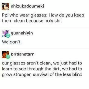 Memes, Shit, and True: shizukadoumeki  Ppl who wear glasses: How do you keep  them clean because holy shit  guanshiyin  We don't  britishstarr  our glasses aren't clean, we just had to  learn to see through the dirt, we had to  grow stronger, survival of the less blind True warriors!