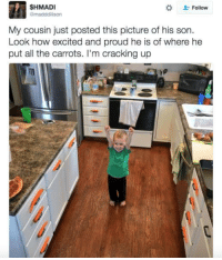 Good, Proud, and All The: SHMADI  @madddison  Follow  My cousin just posted this picture of his son.  Look how excited and proud he is of where he  put all the carrots. I'm cracking up <p>This is good and pure</p>