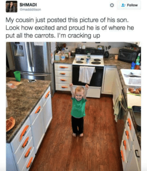 Proud, All The, and How: SHMADI  @madddison  Follow  My cousin just posted this picture of his son.  Look how excited and proud he is of where he  put all the carrots. I'm cracking up