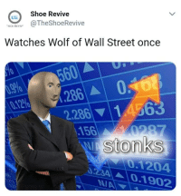 The Wolf of Wall Street: Shoe Revive  ER  SON RE@TheShoeRevive  Watches Wolf of Wall Street once  60  1.286 | ▲ |  2286| ▼  0  | 1A 63  0.12%  156  Stonks  0.1204  ▲ | 0.1 902  34