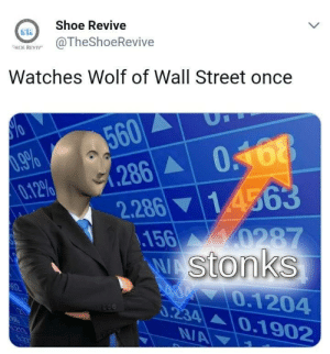 The Wolf of Wall Street, Watches, and Wolf: Shoe Revive  ER  SON RE@TheShoeRevive  Watches Wolf of Wall Street once  60  012% 91.286A| 0  2.286 14563  156  stonks  0.1204  ▲ | 0.1 902  34 me$irl