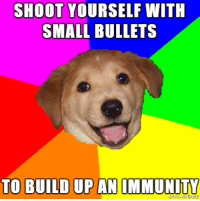Ups, California, and Advice Dog: SHOOT YOURSELF WITH  SMALL BULLETS  TO BUILD UP AN IMMUNITY This one's for you, California.