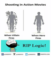 Logic, Memes, and Movies: Shooting in Action Movies  When Villain  Fires  When Hero  Fires  RIP Logic!  K @DESIFUN 증@DESIFUN  @DESIFUN-DESIFUN.COM desifun