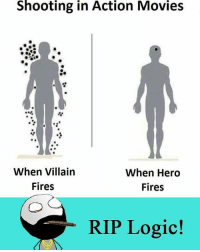 Memes, 🤖, and Villains: Shooting in Action Movies  When Villain  When Hero  Fires  Fires  RIP Logic!