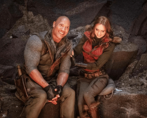 """Shooting our new #JUMANJI with my partner in crime Karen Gillan and if we look like two extremely awkward teenagers in love while trying to manage our insane superpowers in our JUMANJI universe ~ that's because we are. Absolutely love working and getting absurdly awkward with this gal."" - Dwayne The Rock Johnson: ""Shooting our new #JUMANJI with my partner in crime Karen Gillan and if we look like two extremely awkward teenagers in love while trying to manage our insane superpowers in our JUMANJI universe ~ that's because we are. Absolutely love working and getting absurdly awkward with this gal."" - Dwayne The Rock Johnson"