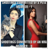 Memes, Peta, and 🤖: SHOOTINGS COMMITTED BY A PETA  MEMBER = 1  SHOOTINGS COMMITTED BY AN NRA  MEMBER 0 ...