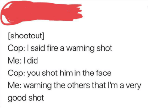 Fire, Good, and Yes: [shootout]  Cop: I said fire a warning shot  Me: I did  Cop: you shot him in the face  Me: warning the others that I'ma very  good shot Yes, you are very threatening