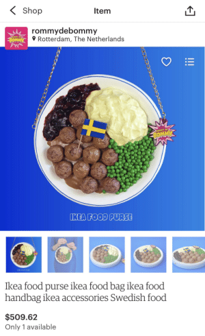 The Perfect Gift for Marzia!: Shop  Item  rommydebommy  Rotterdam, The Netherlands  OHNY DE  BOMMY  ROMMY DE  BOMMY  IKEA FOOD PURSE  INEAFOOD DURS3  Ikea food purse ikea food bag ikea food  handbag ikea accessories Swedish food  $509.62  Only 1 available  !! The Perfect Gift for Marzia!