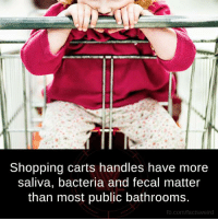 Memes, 🤖, and Bacteria: Shopping carts handles have more  saliva, bacteria and fecal matter  than most public bathrooms  fb.com/facts Weird
