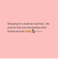 Dude, Shopping, and Girl Memes: Shopping for a dude be mad hard... like  what do they even like besides other  bitches pictursoi  @fuckboysfailures