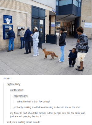 hairstylesbeauty:    CHALLENGE: Can you get through these 33 funny Tumblr posts without laughing once? : shorm  pigfacedlady  vardaesque  rheabekkahc:  What the hell is that fox doing?  probably making a withdrawal seeing as he's in line at the atm  my favorite part about this picture is that people saw the fox there and  just started queuing behind it  well yeah, cutting in line is rude hairstylesbeauty:    CHALLENGE: Can you get through these 33 funny Tumblr posts without laughing once?