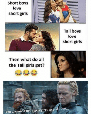 Emoji, Girls, and Love: Short boys  love  short girls  Tall boys  love  short girls  Then what do all  the Tall girls get?  The answer is me making this face at them... *insert laughing emoji*