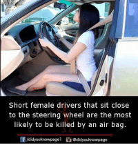 Memes, 🤖, and Air: Short female drivers that sit close  to the steering wheel are the most  ikely to be killed by an air bag  囝/d.dyouknowpagel  ) @didyouknowpage