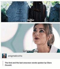 Doctor, Memes, and Tardis: Shortcut  The  he tong way round  enigmaticwho  The first and the last onscreen words spoken by Clara  Oswald. { doctorwho doctor christophereccleston davidtennant mattsmith petercapaldi ninthdoctor tenthdoctor eleventhdoctor twelfthdoctor tardis fantastic allonsy geronimo rosetyler marthajones donnanoble amypond ameliapond amywilliams ameliawilliams claraoswinoswald claraoswald oswinoswald badwolf thegirlwhowaited theimpossiblegirl}