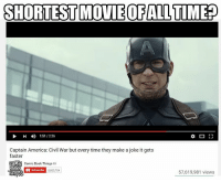 I'm not sorry... PSA, not a real video...: SHORTEST MOVIE OF ALLTIMEP  1:51 226  Captain America: Civil War but every time they make a joke it gets  faster  COMIC  Comic Book Things  a  ROOR  Subscribe 8,805.704  57,619,981 views I'm not sorry... PSA, not a real video...