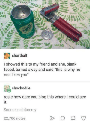 """Rosie, Blog, and Rad: shorthalt  i showed this to my friend and she, blank  faced, turned away and said """"this is why no  one likes vou""""  shockodile  rosie how dare you blog this where i could see  it.  Source: rad-dummy  22,786 notes But why?"""