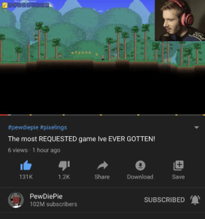 youtube.com, Ford, and Game: Shortsward  Ford  #pewdiepie #pixelings  The most REQUESTED game lve EVER GOTTEN!  6 views 1 hour ago  Save  Download  Share  1.2K  131K  SUBSCRIBED  PewDiePie  102M subscribers Youtube is broken again
