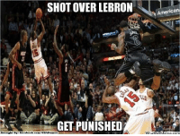 Fac, Meme, and Nba: SHOT OVER LEBRON  GETPUNISHED  Brought Bye Fac  ebook.com/NBAH  American  Wha Sorry Lucas!