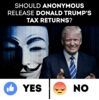 Trump Tax: SHOULD ANONYMOUS  RELEASE DONALD TRUMP'S  TAX RETURNS?  YES  NO