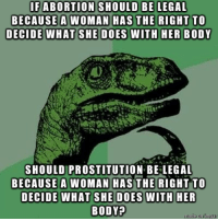 Seems Fair: SHOULD BE LEGAL  IFABORTION  BECAUSE A WOMAN H  SHOULD PROSTITUTION BE LEGAL  BECAUSE A WOMAN HASTHE RIGHT TO  BODY? Seems Fair