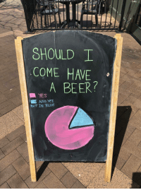 """Beer, Tumblr, and Blog: SHOULD I  COME HAVE  BEER?  AlSO YES  BUT IN BLUE <p><a href=""""http://awesomacious.tumblr.com/post/173492039665/pie-charts-make-every-decision-easier"""" class=""""tumblr_blog"""">awesomacious</a>:</p>  <blockquote><p>Pie charts make every decision easier</p></blockquote>"""