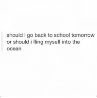 Memes, School, and History: should i go back to school tomorrow  or should i fling myself into the  Ocean I relate bc I have a big history test tomorrow in preparation for the apwh test and I just want to leave this planet - Max textpost textposts