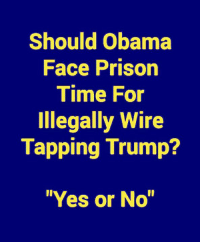 "Memes, Obama, and Patriotic: Should Obama  Face Prison  Time For  Illegally Wire  Tapping Trump?  ""Yes or No"" What Do You Think?  SOUND OFF PATRIOTS!"