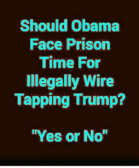 Should Obama  Face Prison  Time For  Illegally Wire  Tapping Trump?  Yes or No