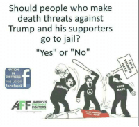 """Facebook, Jail, and Memes: Should people who make  death threats against  Trump and his supporters  go to jail?  """"Yes"""" or """"No""""  NATION  IN  DISTRESS  like us on  facebook  STOP  HATE  AFF  AMERICA'S  FIGHTERS  GRCAT AGAI YES! #NIDPatriots"""