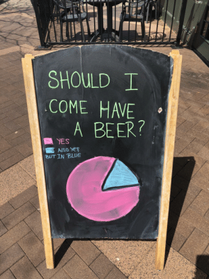 Beer, Blue, and Yes: SHOULD T  COME HAVE  YES A BEER?  AlSO YES  BUT IN BLUE Graphs make every decision easier