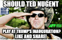 Facebook, Ted, and Freedom: SHOULD TED NUGENT  NATION  DISTRESS  ke US On  facebook  AMERICAS  FREEDOM  GHTERS  PLAY ATTRUMPSINAUGURATION?  LIKE AND SHARE!  inglip Com YES! What Say You?  :-D