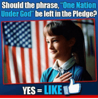 "God, Memes, and 🤖: Should the phrase,""One Nation  Under God"" be left in the Pledge?  YES LIKE"